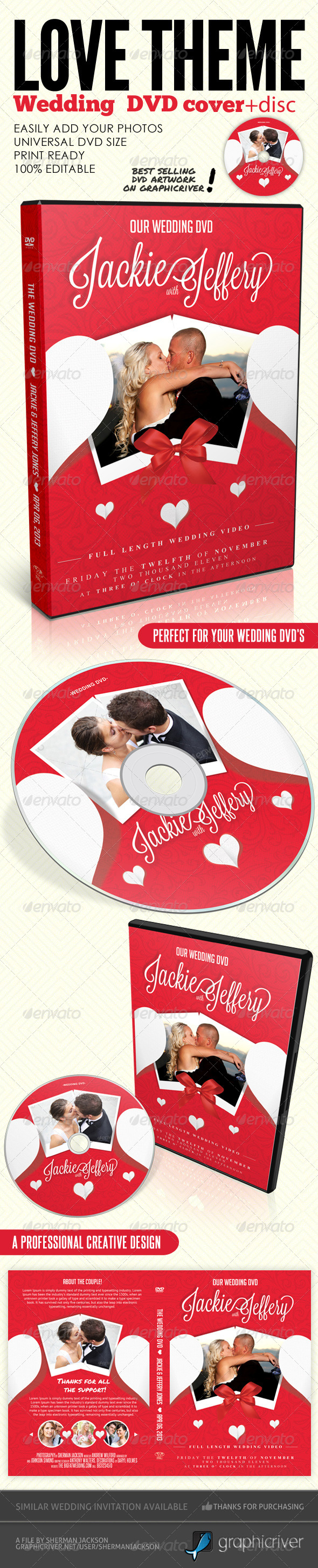 Love Theme Wedding DVD Covers & Disc Label - CD & DVD artwork Print Templates