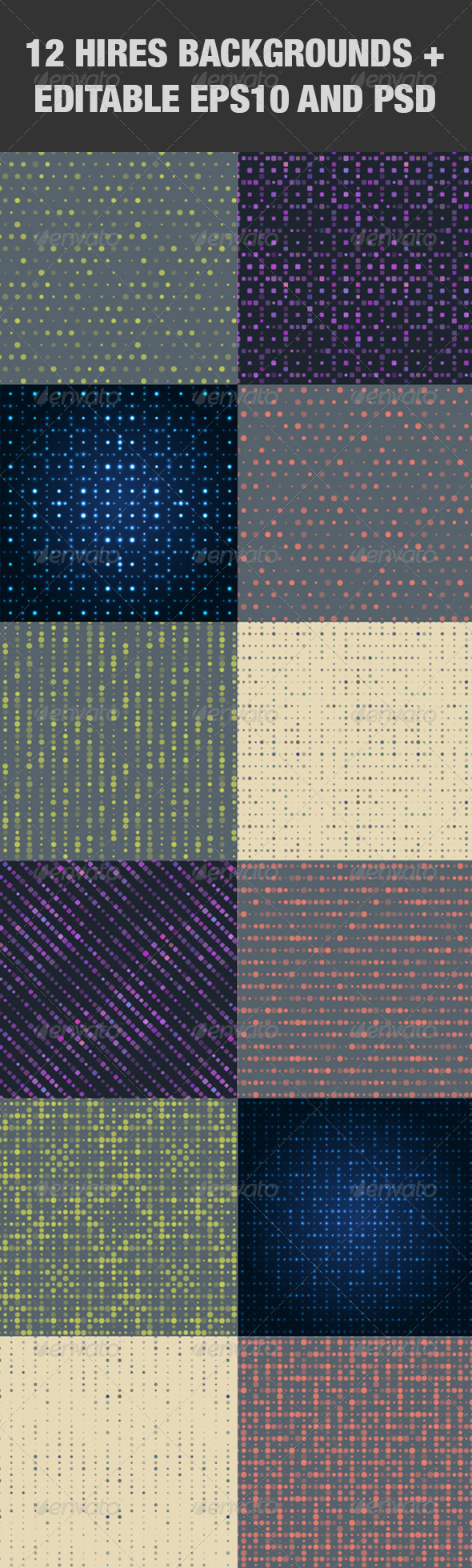 GraphicRiver Abstract Dots Background Set 5170013