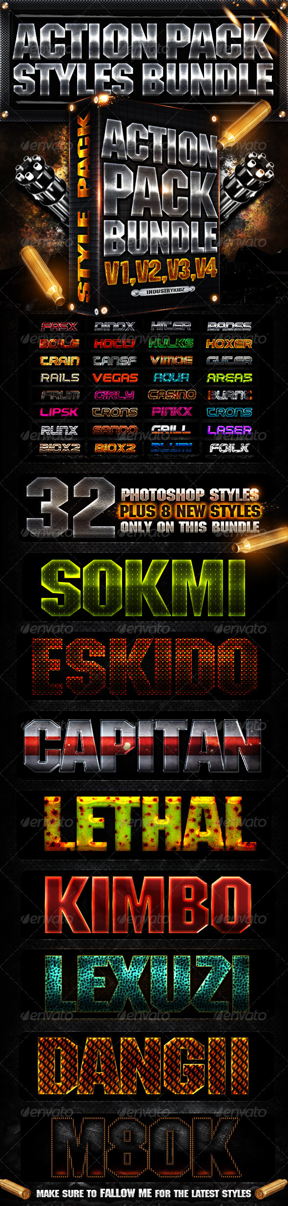 Action Pack Photoshop Style Bundle - Text Effects Styles