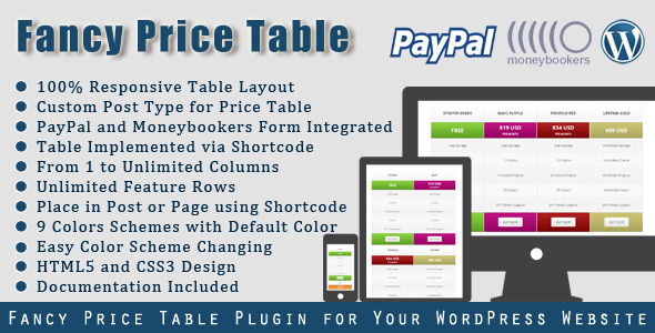 CodeCanyon Fancy Price Table WordPress Price Table Plugin 5171860