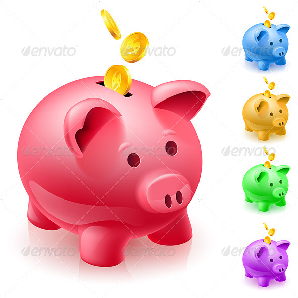 GraphicRiver Five Colorful Piggy Banks 5171909