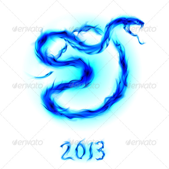 GraphicRiver Snake made from Blue Flames 5171917