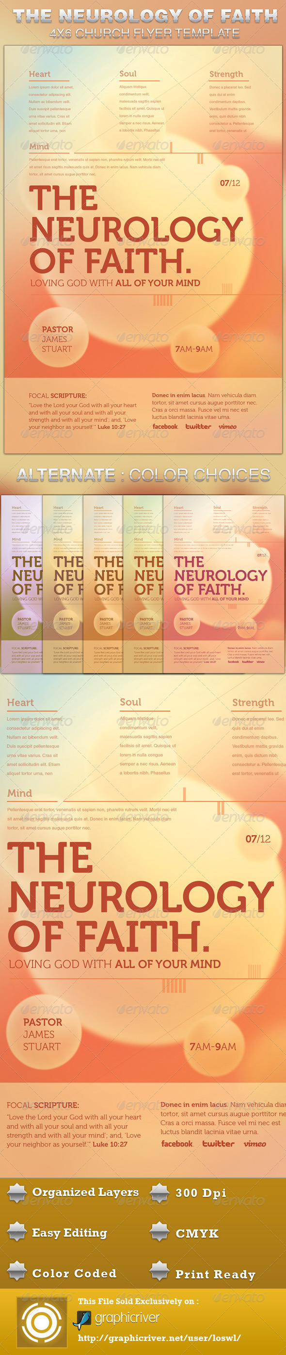GraphicRiver The Neurology of Faith Church Flyer Template 5173029