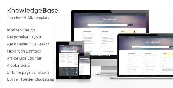 Knowledge Base HTML Template - Miscellaneous Site Templates