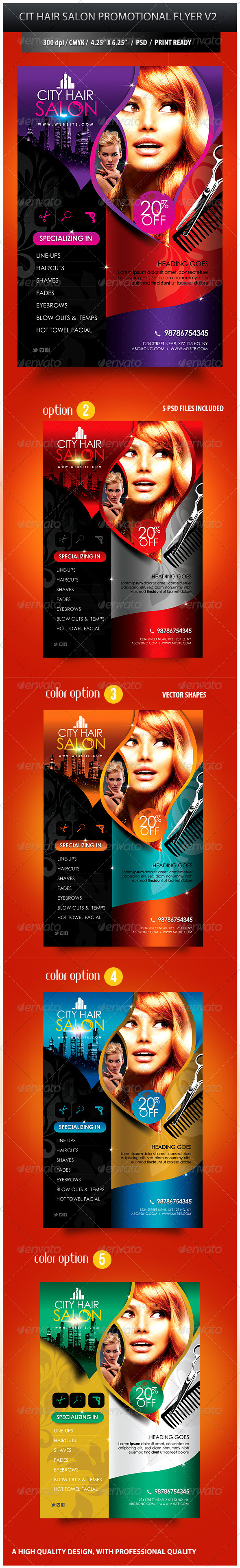 City Hair Salon Promotional Flyer V2 - Commerce Flyers