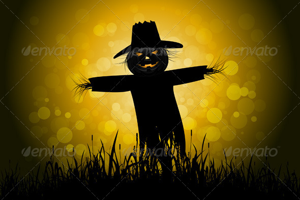GraphicRiver Halloween Background with Scarecrow 5174699