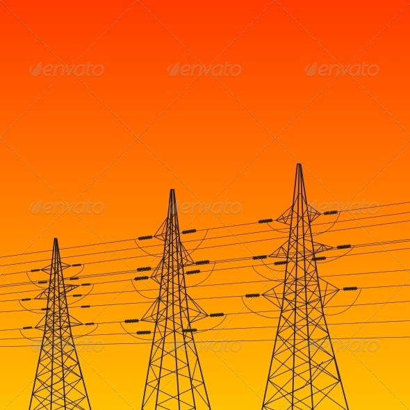 GraphicRiver Electric Pylon at Sunset 5176535