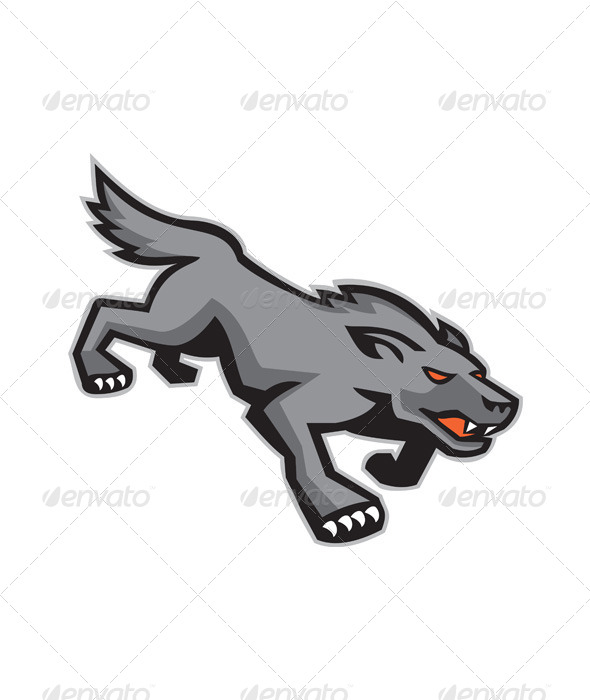 GraphicRiver Wild Dog Wolf Stalking Retro 5178216