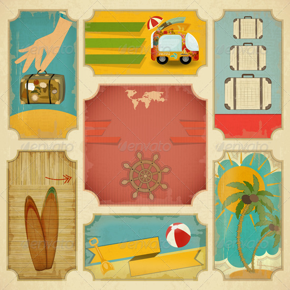 GraphicRiver Set of Retro Summer Labels 5178309