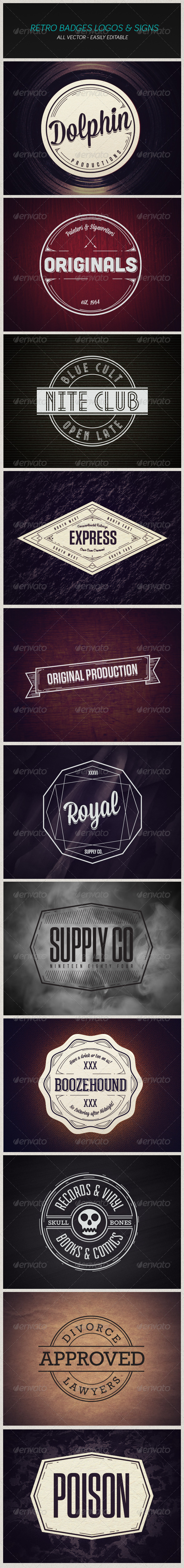 GraphicRiver Modern Retro Badges Vintage Logos and Signs 5178631