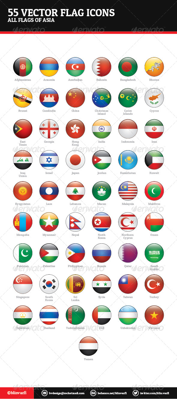 Asian Flags Vector - Web Icons