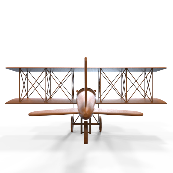 3DOcean Carved Wooden Airplane Model and Base Mesh 5179509