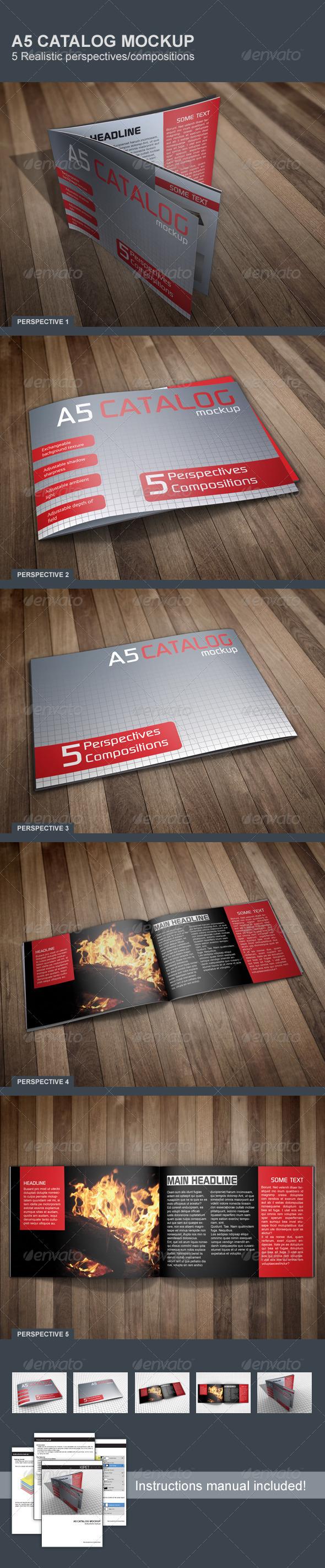 GraphicRiver Realistic A5 Catalog Mockup 5180771