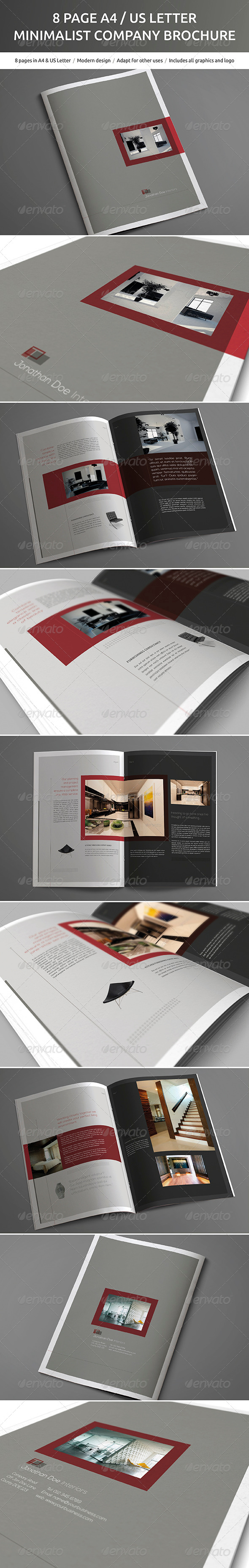 GraphicRiver 8 Page A4 and US Letter Minimalist Brochure 5181057