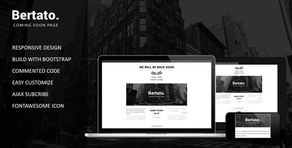 Bertato - Responsive Coming Soon Page - Under Construction Specialty Pages