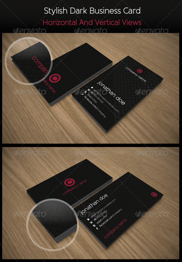 GraphicRiver Stylish Dark Business Card 532190