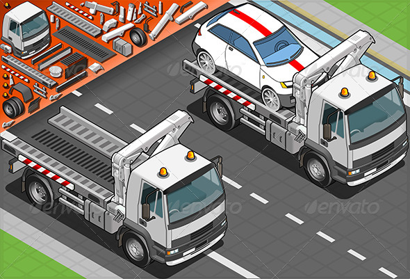 GraphicRiver Isometric Tow Truck in Car Assistance 5182603
