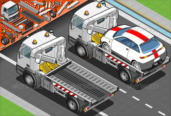 GraphicRiver Isometric Tow Truck in Car Assistance 5182605