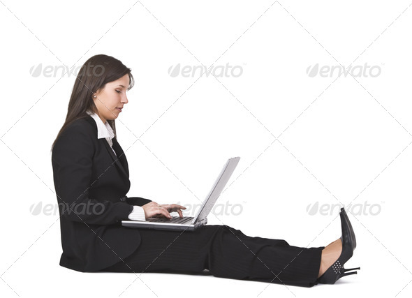 Working on a Laptop - Stock Photo - Images