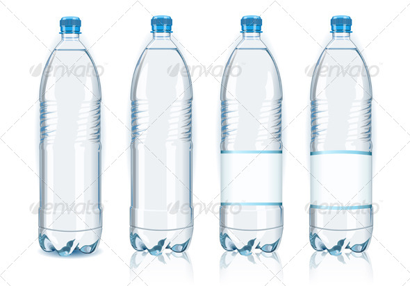 GraphicRiver Four Plastic Bottles with Generic Labels 5184987
