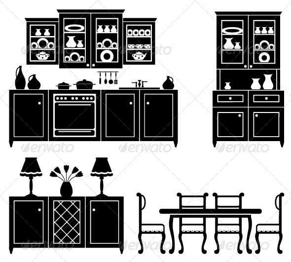GraphicRiver Set of Icons of Kitchen Furniture 5188072
