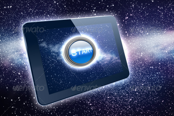Great tablet with a Start button - Stock Photo - Images