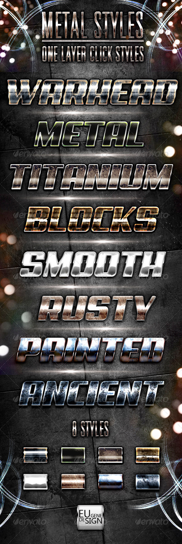 8 Metal Photoshop Styles - Text Effects Styles