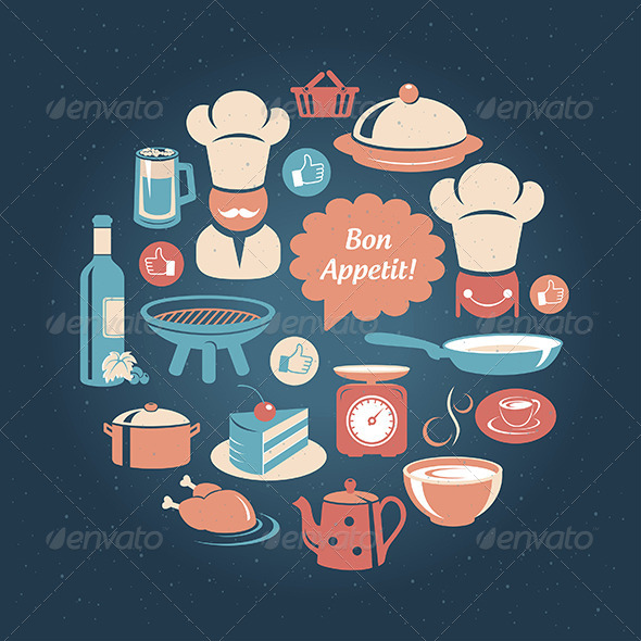 GraphicRiver Round Card With Food And Cooking Icons 5190431