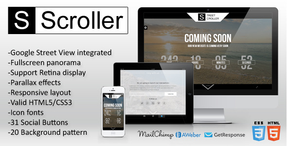 Street Scroller - Panoramic Coming Soon Template - Under Construction Specialty Pages