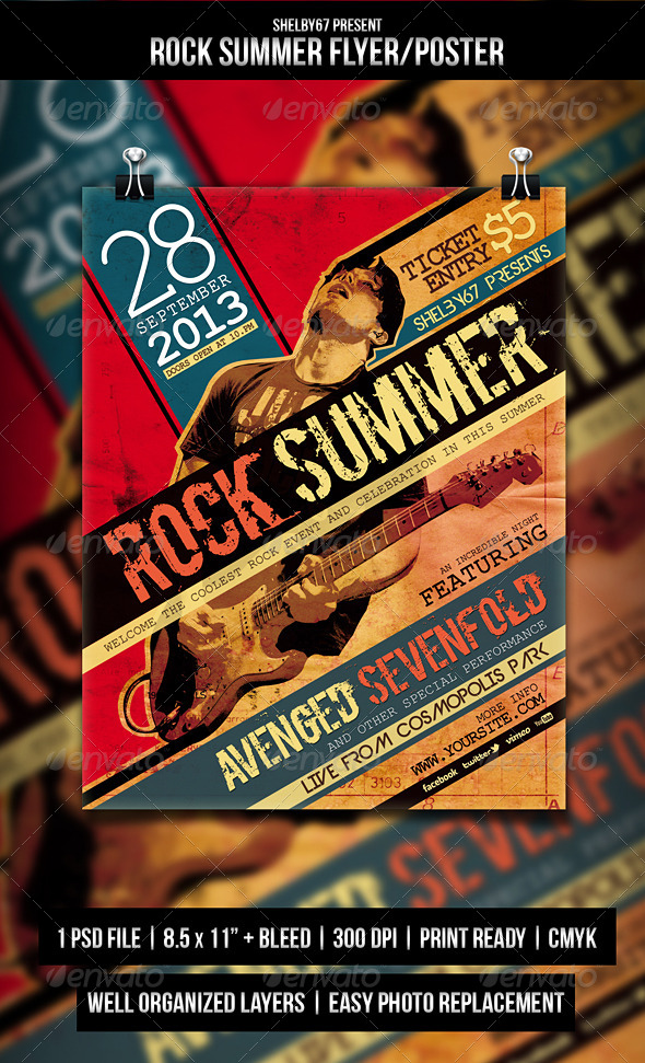GraphicRiver Rock Summer Flyer Poster 5192016