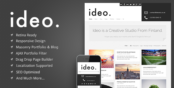 ThemeForest ideo Minimalistic WordPress Portfolio Theme 5192115