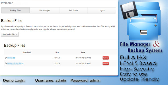CodeCanyon File Manager And Backup System 5177206