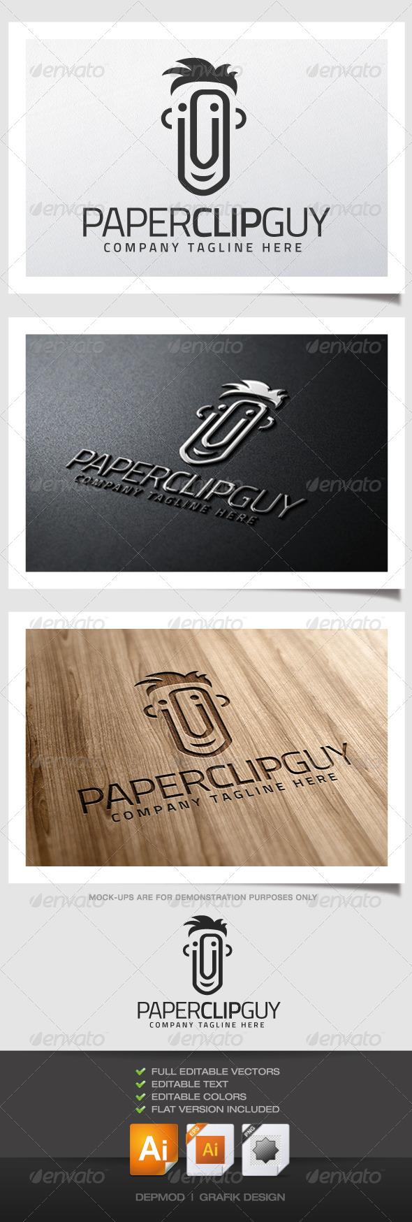 GraphicRiver Paper Clip Guy Logo 5195855
