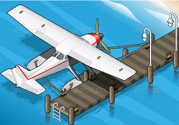 GraphicRiver Isometric Seaplane Moored at the Pier in Rear View 5198354
