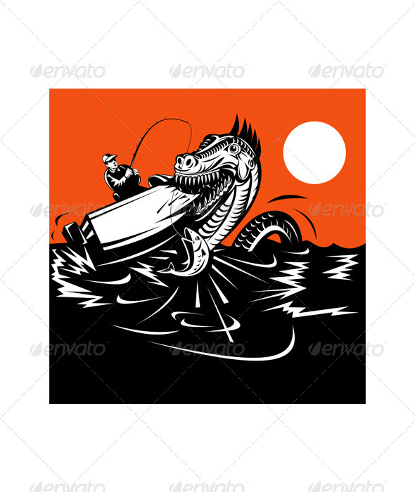 GraphicRiver Fisherman Fishing and Sea Serpent 5198606