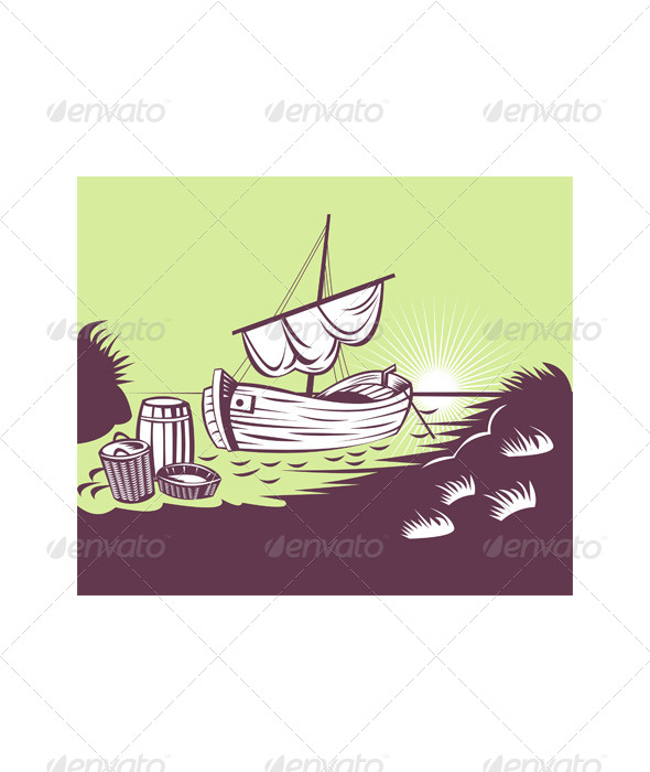 GraphicRiver Fishing Boat at Sea 5198633
