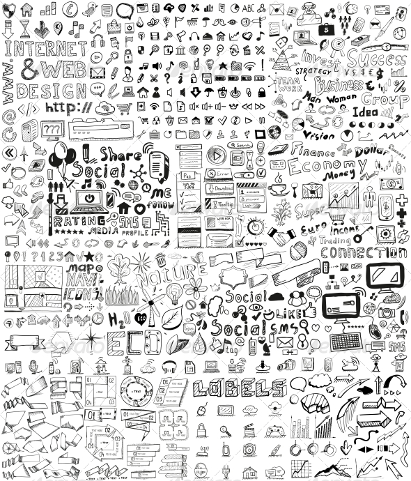 GraphicRiver Huge Set of Hand Drawn Elements 5198906
