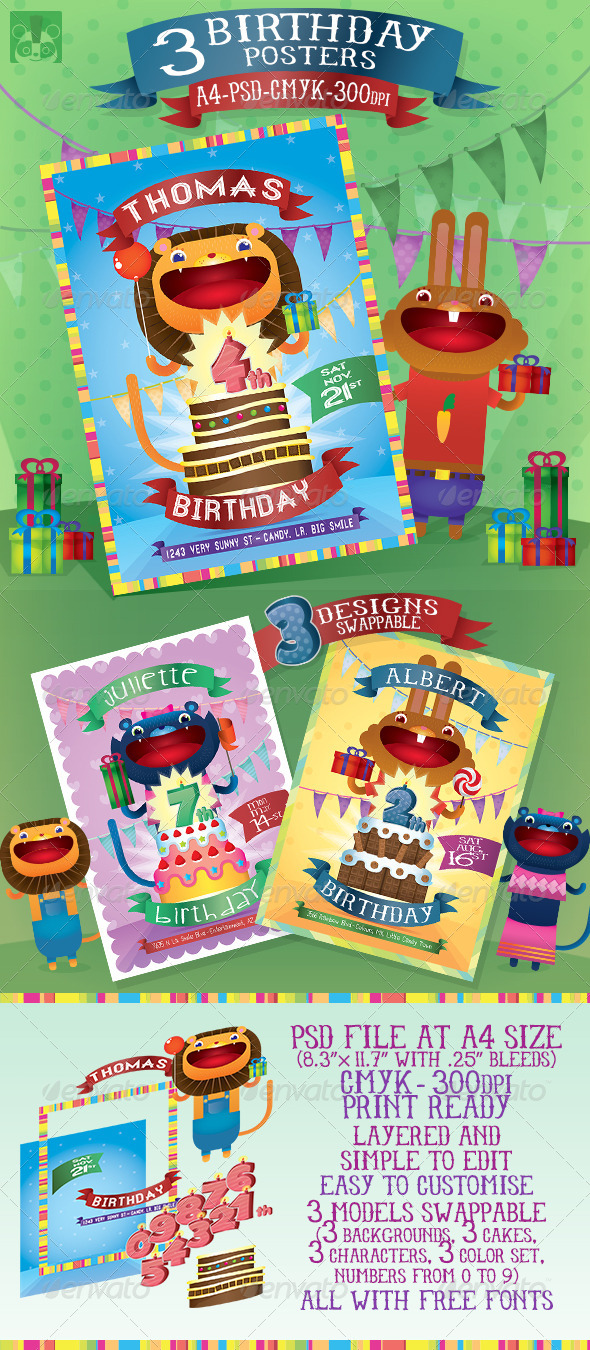 GraphicRiver 3 Birthday Posters 5128411
