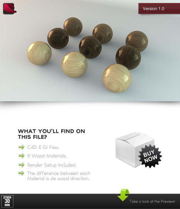 3DOcean 9 C4D Wood Materials 534331