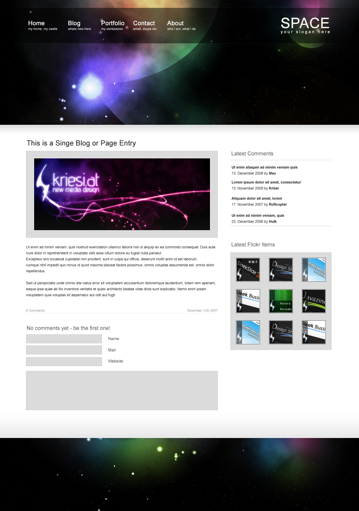 Space - Singel Page: One entry in Blog Style with commentbox