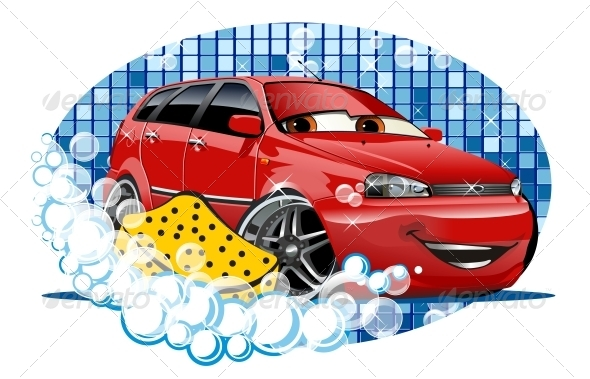 GraphicRiver Car Washing Sign with Sponge 5200356