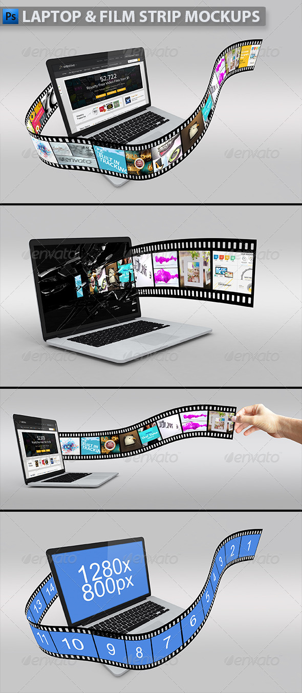 GraphicRiver Laptop with Film Strip Mockup 5201459