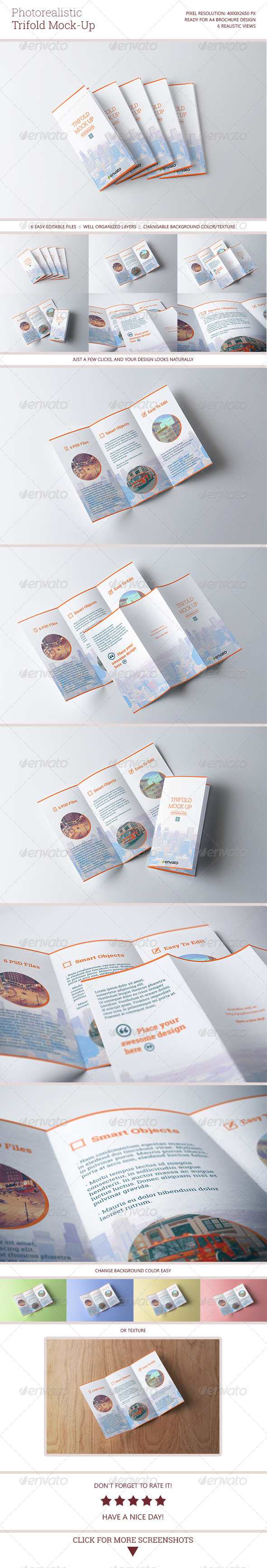 Photorealistic Trifold Mock-Up - Brochures Print