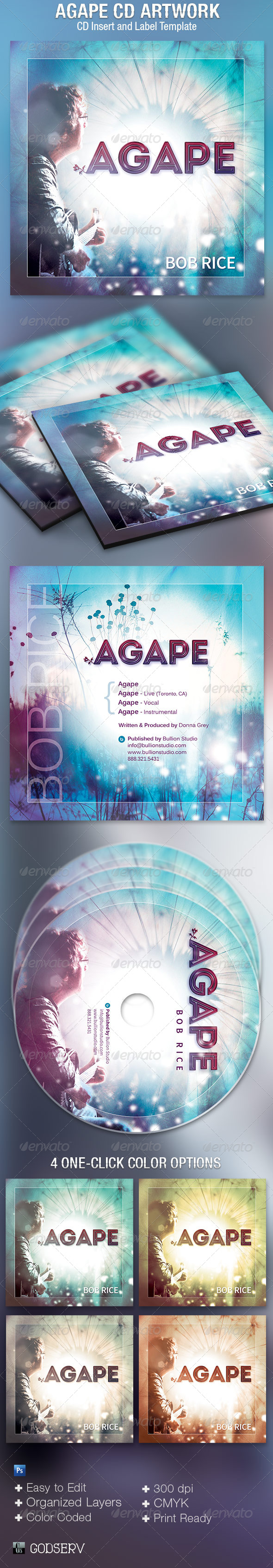 Agape CD Artwork Template - CD & DVD artwork Print Templates