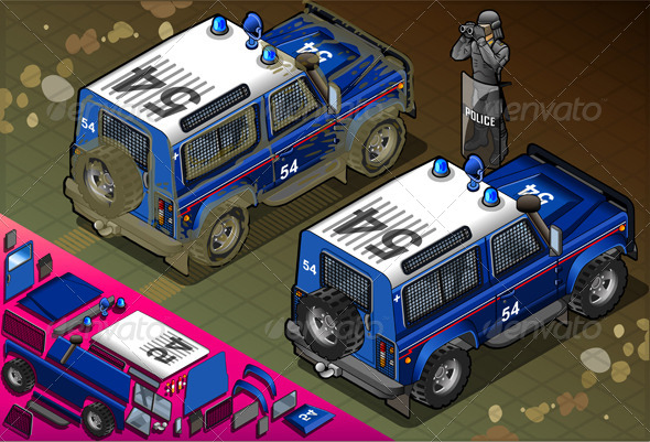 GraphicRiver Isometric Police Off Road Vehicle in Rear View 5198293