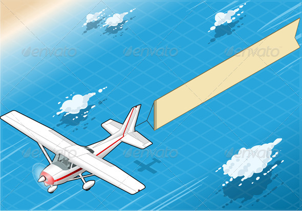 GraphicRiver Isometric White Plane in Flight with Aerial Banner 5207513