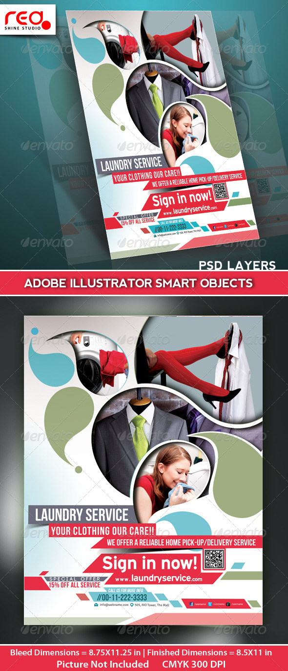 GraphicRiver Laundry Service Flyer Poster Magazine Template 5207846