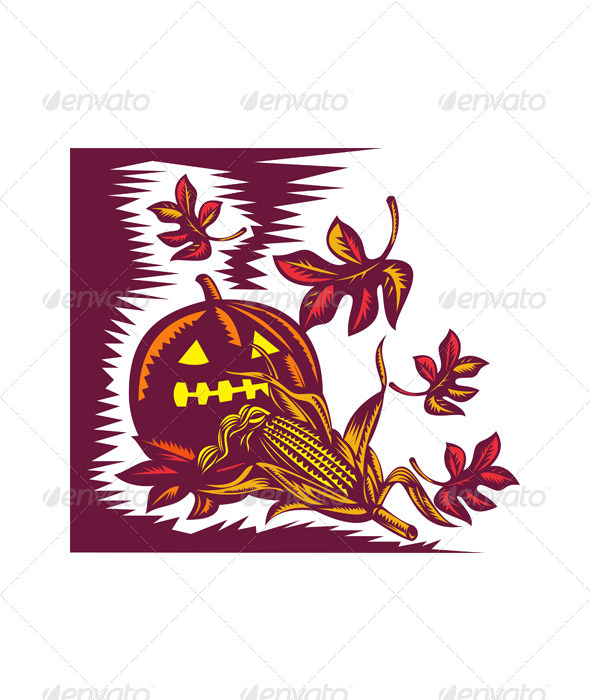 GraphicRiver Halloween Jack O Lantern Pumpkin with Corn 5208080
