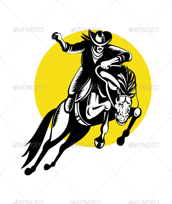 GraphicRiver Rodeo Cowboy Riding a Bucking Bronco 5208089