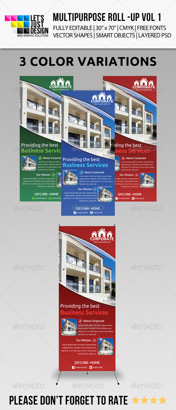 Multipurpose Roll-Up Banner Vol 1 - Signage Print Templates